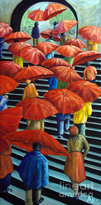 Art Print featuring the painting 01149 Climbing Umbrellas by AnneKarin Glass