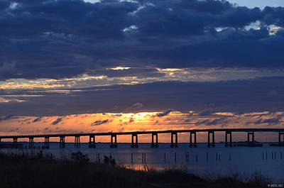 Photograph - 0118 Cloudy Sunrise Over Navarre Beach Bridge by Jeff at JSJ Photography