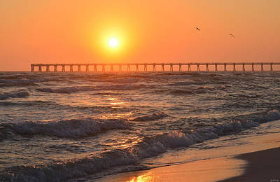 Photograph - 0120 Sunset Over Navarre Beach Pier With Gulls by Jeff at JSJ Photography