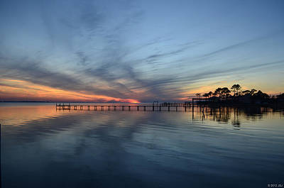 Photograph - 0129 Cirrus Reflections At Twilight On Sound by Jeff at JSJ Photography