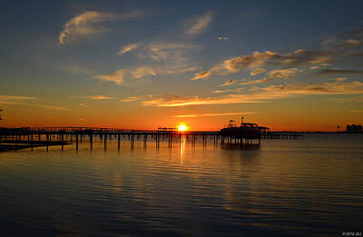 Photograph - 0130 Sunrise On Sound Over Pier by Jeff at JSJ Photography
