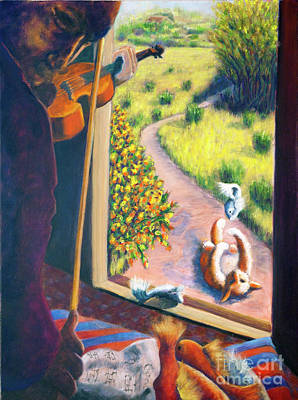 01349 The Cat And The Fiddle Art Print by AnneKarin Glass