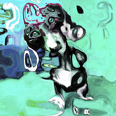 Limited Edition Mixed Media - 0166 Abstract Dog By Nixo by Nicholas Nixo