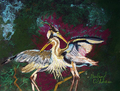 Pastel - 021916 Blue Heron's Dance by Garland Oldham