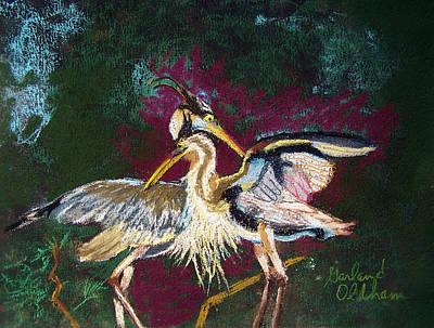 Pastel - 021916 Blue Heron's Dance by Garland Oldham