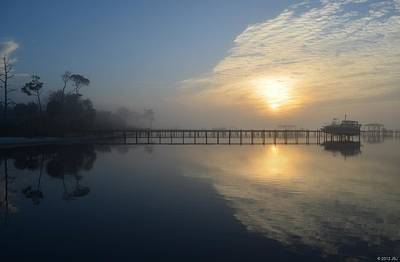Photograph - 0222 Foggy Reflections On A Calm Santa Rosa Sound At Sunrise by Jeff at JSJ Photography