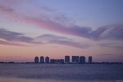 Photograph - 0223 Navarre Beach Skyline With Purple Sunrise Colors by Jeff at JSJ Photography