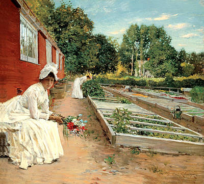 Painting - A Visit To The Garden by William Merritt Chase