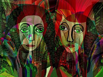 Painting - 039 - Two Pensive Women by Irmgard Schoendorf Welch