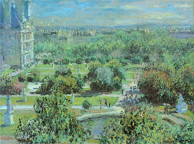 Stature Painting - Tuileries Gardens by Claude Monet