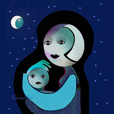 Painting - 042 - Moon Mother Child  ... by Irmgard Schoendorf Welch