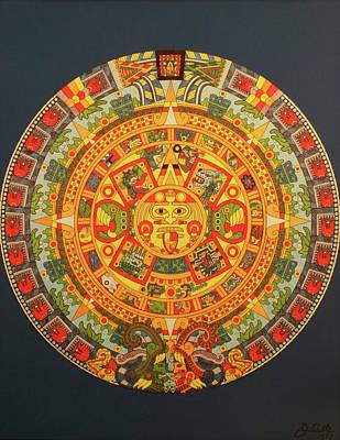 Calendars Mixed Media - 043 Aztec Calendar by James D Waller