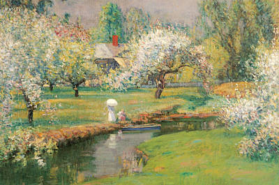 Beautiful Scenery Painting - Lady With A Parasol By A Stream by Theodore Wendel