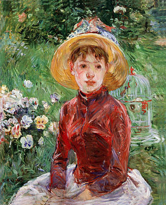 Cage Painting - Young Girl On The Grass by Berthe Morisot