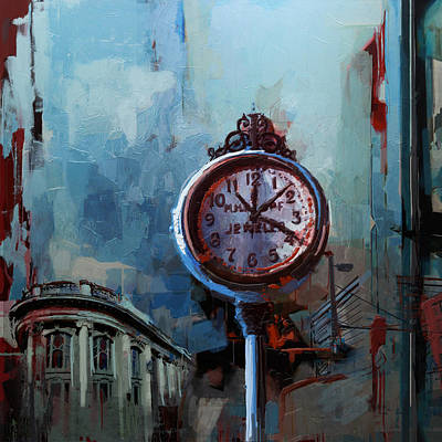 Painting - 060 Milwaukee County Historical Society's Street Clock Frozen In Time by Maryam Mughal