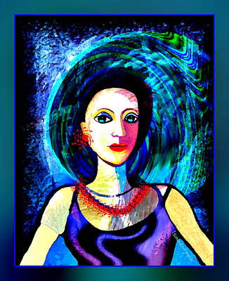 Digital Art - 066 - Beautiful Lady With Red Earrings And Necklace 2017 A by Irmgard Schoendorf Welch
