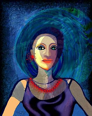 Welch Digital Art - 066 - Woman With   Necklace by Irmgard Schoendorf Welch