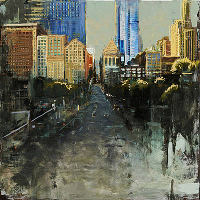 Painting - 068 Roads Houses Skyscrapers Chicago City Street by Maryam Mughal