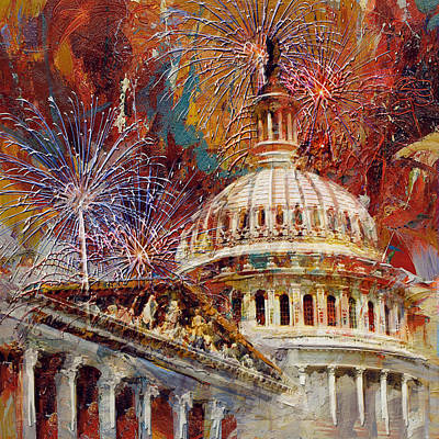 Capitol Building Painting - 070 United States Capitol Building - Us Independence Day Celebration Fireworks by Maryam Mughal