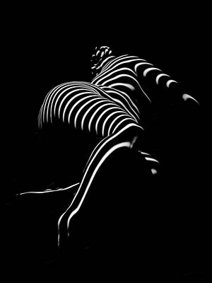 Photograph - 0773-ar Striped Zebra Woman Side View Abstract Black And White Photograph By Chris Maher by Chris Maher