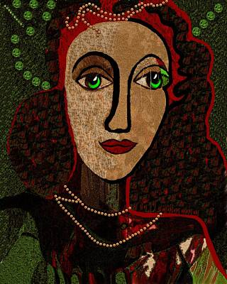 Digital Art - 078 - Woman Pensive by Irmgard Schoendorf Welch