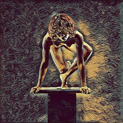 Digital Art - 0948s-zak Dancer Balanced On Pedestal In The Style Of Antonio Bravo  by Chris Maher