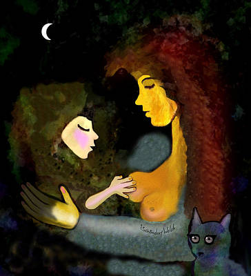 Digital Art - 097 - Babylove With Cat And  Moon 2017 by Irmgard Schoendorf Welch