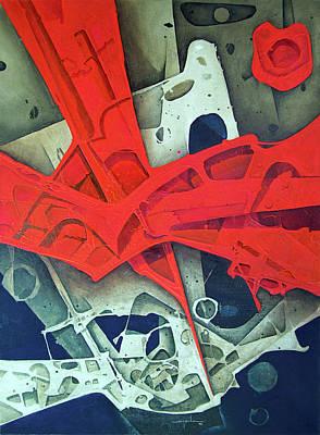 Cosmic Painting - 0l1964ny003 Espritu De La Luna 44x60 by Alfredo Da Silva