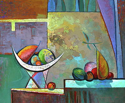 Still Life With Frutit Print by Alexey Kvaratskheliya