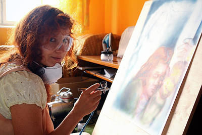 Artist Working Photograph -  Young Woman Painting With Airbrush Equipment by Jozef Klopacka