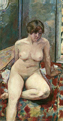 Bedspreads Painting - Nude Seated Leg Bent by Pierre Bonnard