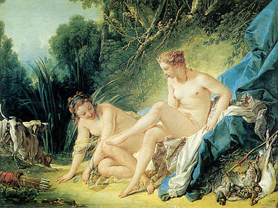 Lady Diana Painting - Diana Bathing by Francois Boucher