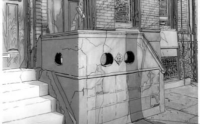 Philadelphia Street Drawing - 1207 Christian St.,phila.,pa  1955 by Michael Cifone
