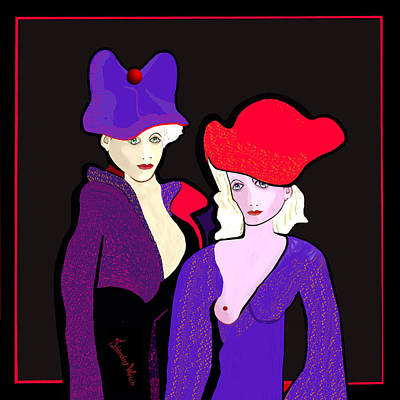 Digital Art - 1267 - Two Strangely Dressed Women 2017 by Irmgard Schoendorf Welch
