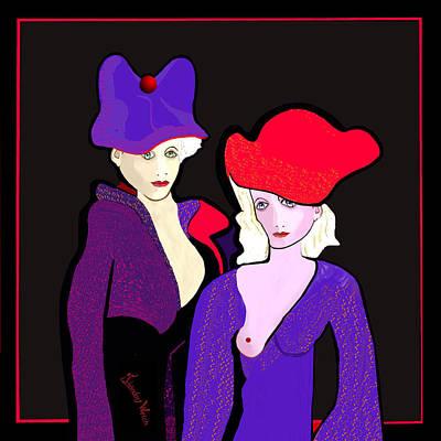 Digital Art - 1267 - Two Strangely Dressed Women 2017 by Irmgard Schoendorf Welch