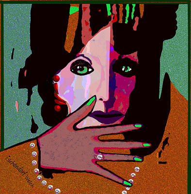 Digital Art - 1432 - Elegant Lady With Green Fingernails 2017 by Irmgard Schoendorf Welch