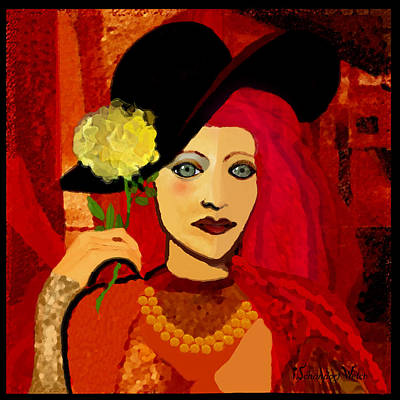 Digital Art - 1693 -  Mademoiselle With Yellow Rose  2017 by Irmgard Schoendorf Welch