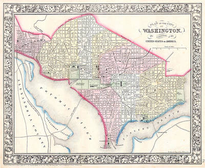 1861 Photograph - 1861 Map Of Washington Dc by Jon Neidert