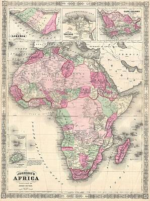 Painting - 1864 Map Of Africa by Celestial Images