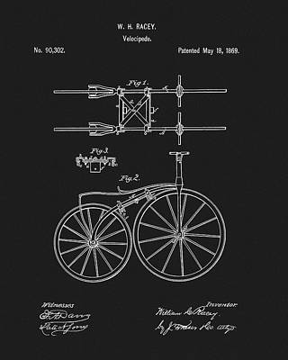 Mixed Media - 1869 Bicycle Patent by Dan Sproul