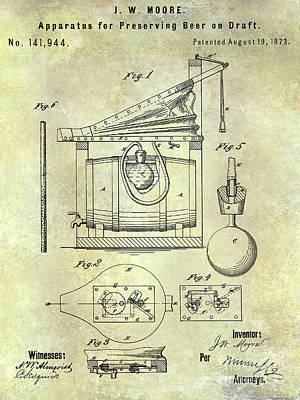 Stein Photograph - 1873 Draft Beer Patent by Jon Neidert