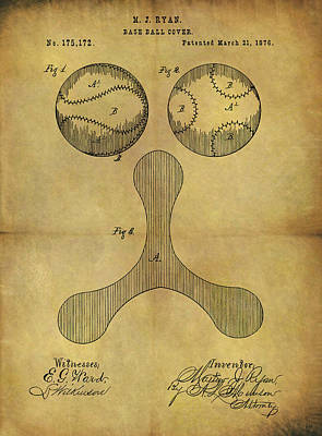 Drawing - 1876 Baseball Patent by Dan Sproul