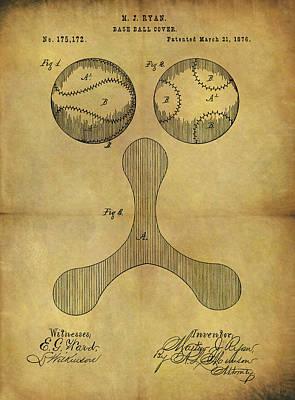 Mlb Major League Baseball Drawing - 1876 Baseball Patent by Dan Sproul
