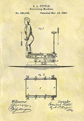 Nike Drawing - 1880 Exercise Machine Patent by Dan Sproul