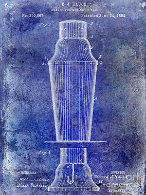 Martini Shaker Photograph - 1884 Drink Shaker Patent by Jon Neidert