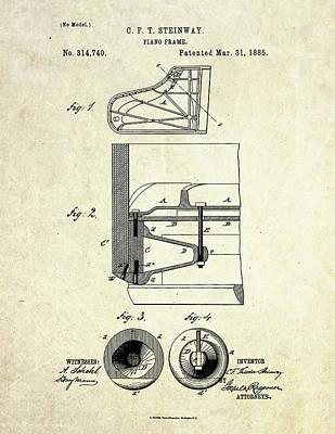1885 Steinway Piano Frame Patent Art Art Print