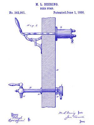 Stein Photograph - 1886 Beer Pump Patent Blueprint by Jon Neidert