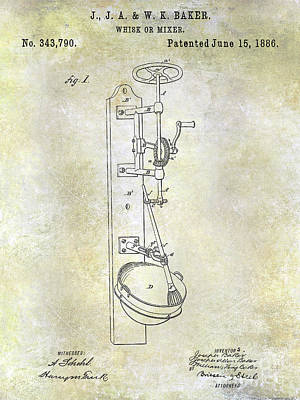 Beaters Photograph - 1886 Whisk Or Mixer Patent by Jon Neidert
