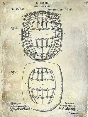 1887 Baseball Mask Patent Art Print by Jon Neidert