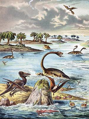 Pterodactyle Photograph - 1888 Color Lithograph Jurassic Solnhofen by Paul D. Stewart